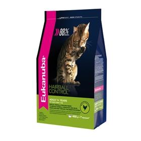 "Сухой корм EUK Cat ""Хэйр болл"" для домашних кошек, для вывода шерсти, птица, 400 г"