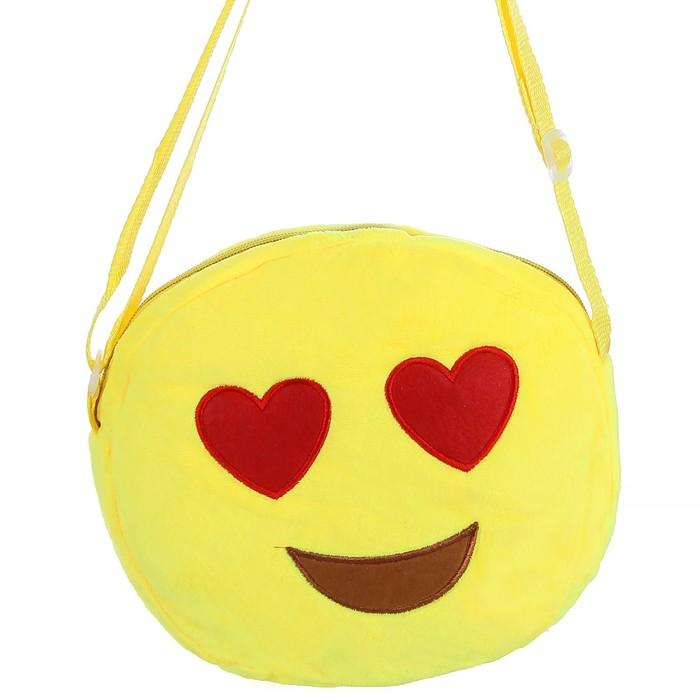 """Мягкая сумочка """"Смайлик"""" глазки сердечками"""