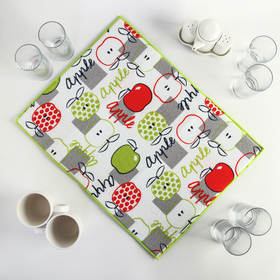 """Коврик для сушки посуды 38×51 см """"Яблоки"""", микрофибра"""