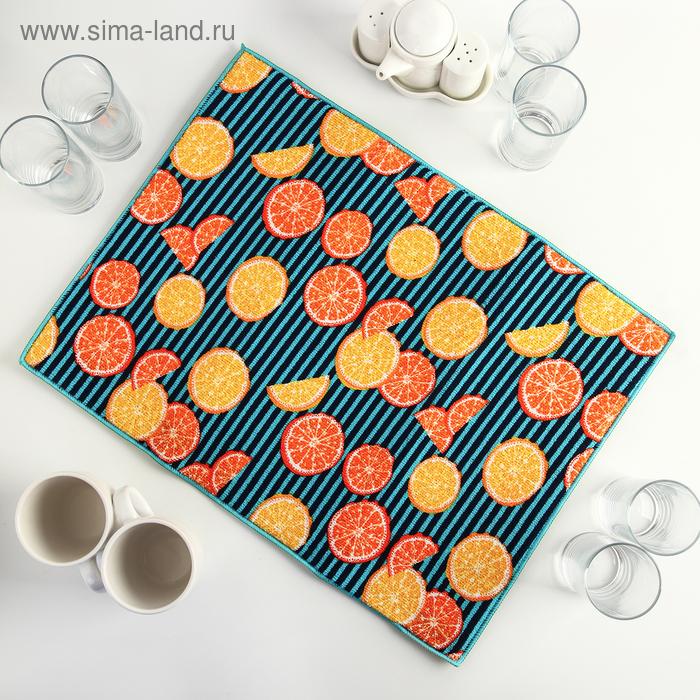 """Mat for drying dishes 38х51 cm """"Citrus"""", microfiber"""