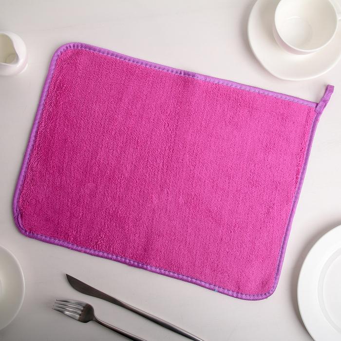 Коврик для сушки посуды 40×30 см, микрофибра, цвет МИКС