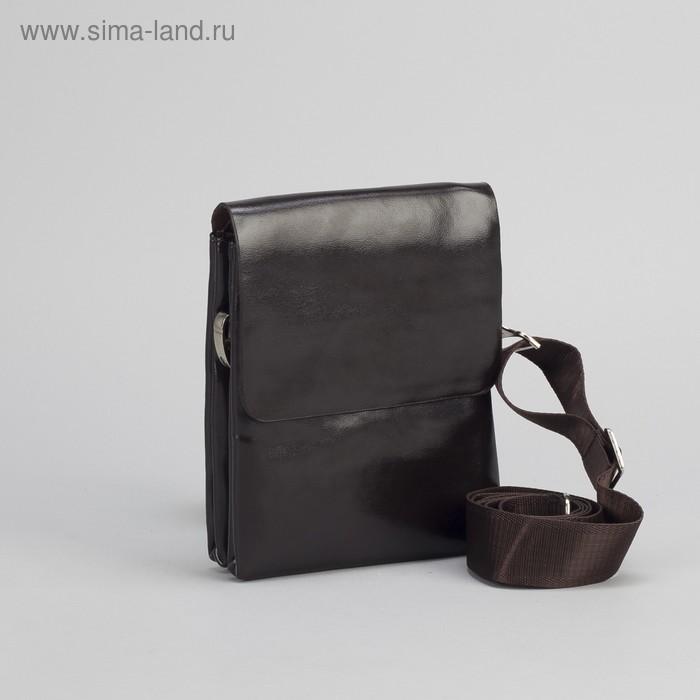 """Планшет мужской """"Классика"""", 1 отдел, 1 наружный карман, длинный ремень, коричневый"""
