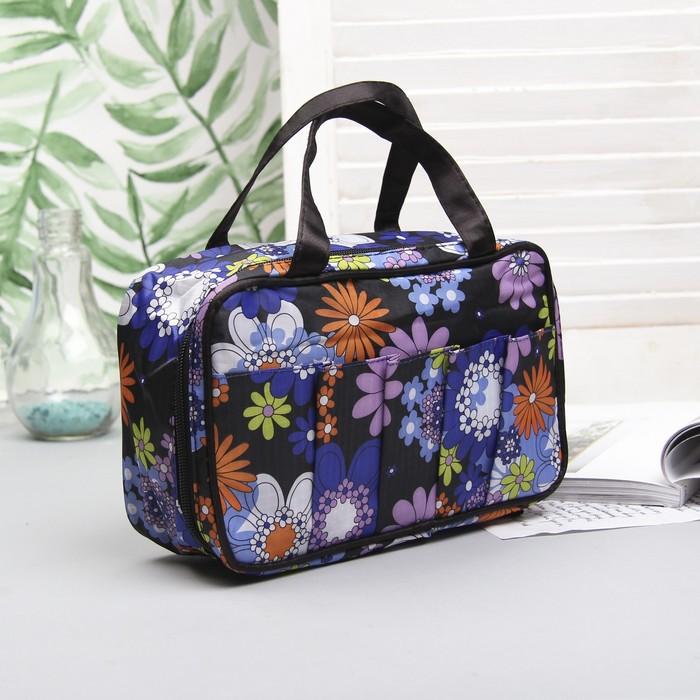 """Косметичка-сумочка на молнии """"Цветы"""", 1 отдел, 5 наружных карманов, цвет чёрный"""