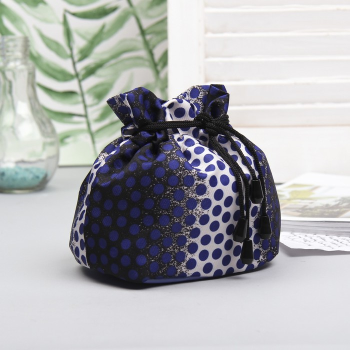 "Косметичка-сумочка на стяжке шнурком ""Горох"", 1 отдел, цвет синий"