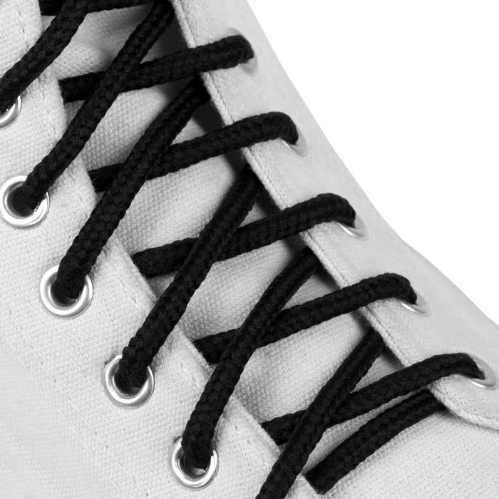 Шнурки для обуви, пара, круглые, d = 3 мм, 120 см, цвет чёрный