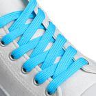 Шнурки для обуви плоские, ширина 12мм, 120см, цвет неон голубой