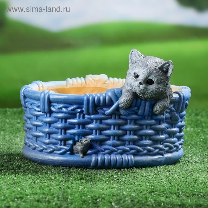 """Фигурное кашпо """"Кот в корзинке"""" микс"""