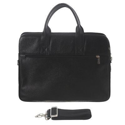 Портфель мужской, 3 отдела, 2 наружных кармана, регулируемый ремень, чёрный флотер
