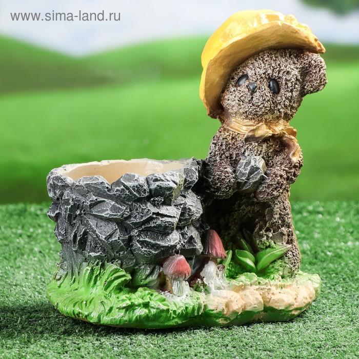 """Фигурное кашпо """"Медведь в шляпе"""", микс"""