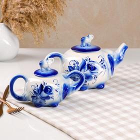 """Чайный набор """"Слоник"""", роспись, 2 предмета: чайник 0.7, сахарница 0.2 л"""