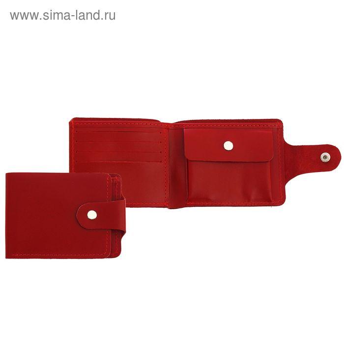 Кошелёк женский на кнопке, 1отдел, отдел для карт, отдел для монет, красный глянцевый