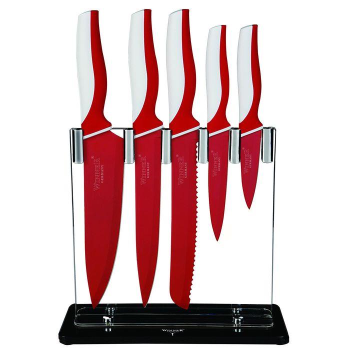 Набор ножей, 6 пр: поварской 34 см, д/нарезки 33 см, д/резки хлеба 33 см, цвет МИКС