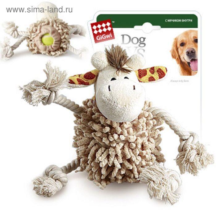 """Игрушка GiGwi """"Жираф"""" для собак, с теннисным мячом внутри тела 20 см"""