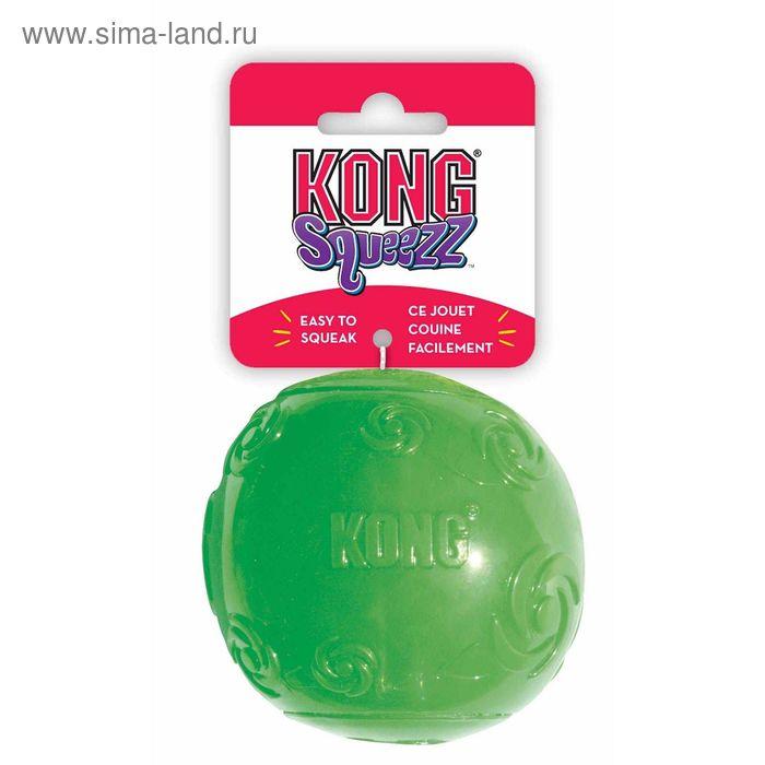 """Мячик Kong """"Сквиз""""  для собак, резиновый с пищалкой, средний"""