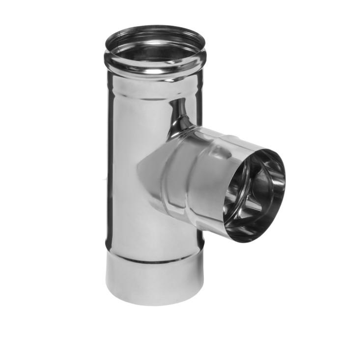 Тройник Феррум угол 90°, нержавеющий 430/0,5 мм, d 150 мм, по воде