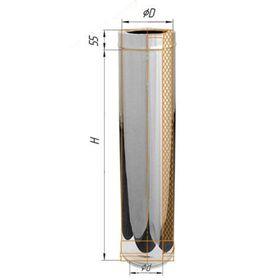 Дымоход Феррум утепленный нержавеющий 430/0,5мм, зеркальный нержавеющий d 200/280, L=1 м, по воде