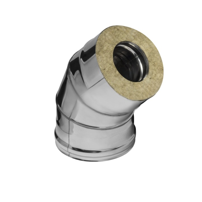 Колено Феррум утепленное угол 135° нержавеющее 430/0,5мм, зеркальное, d 120/200, по воде