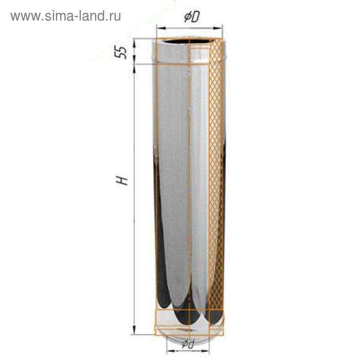 Дымоход Феррум утепленный нержавеющий 430/0,5мм, зеркальный нержавеющий d 150/210, L=1 м, по воде