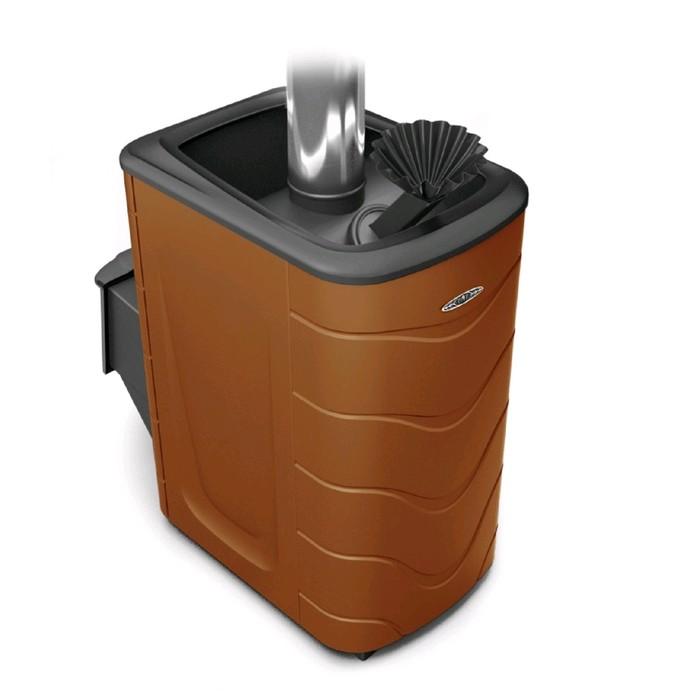 Печь для бани Термофор Гейзер 2014 Carbon, дверца антрацит, закрытая каменка, терракота