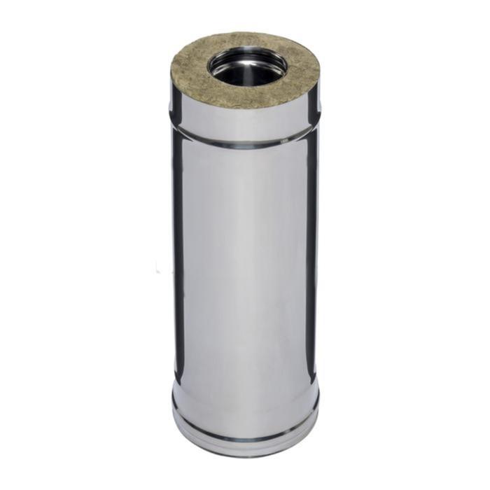 Дымоход Феррум утепленный нержавеющий 430/0,5мм, зеркальный нержавеющий d 120/200 мм, L=0,5м, по вод