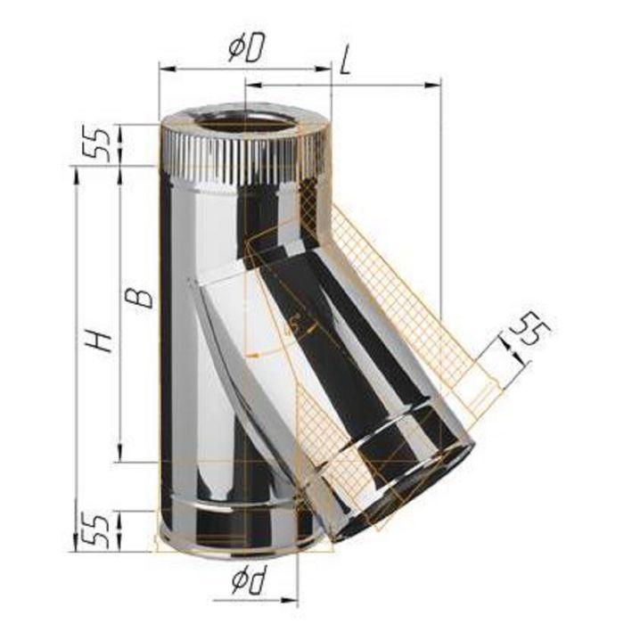 Тройник Феррум утепленный угол 135° нержавеющий 430/0,5 мм, оцинкованный, d 150/210 мм, по воде   16