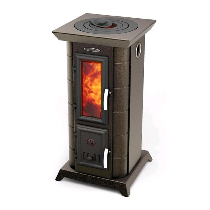 Печь-камин отопительно-варочный Термофор Статика Тетра, черная бронза