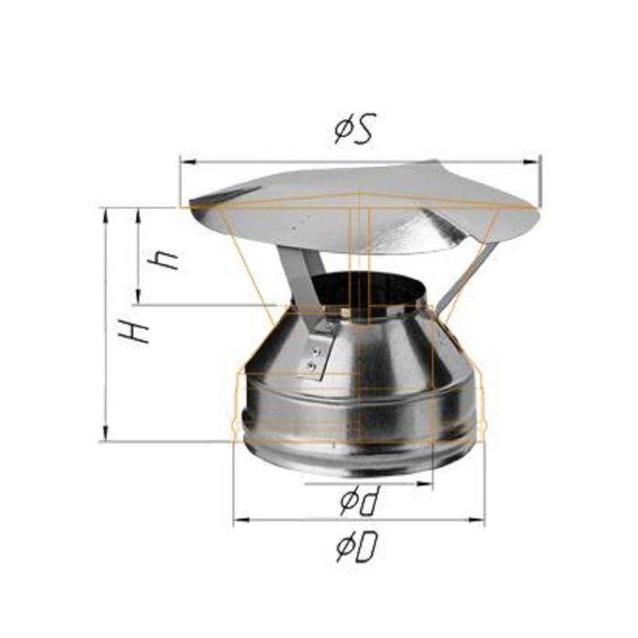 Оголовок Феррум оцинкованный, 0,5 мм, d 130/200, по воде