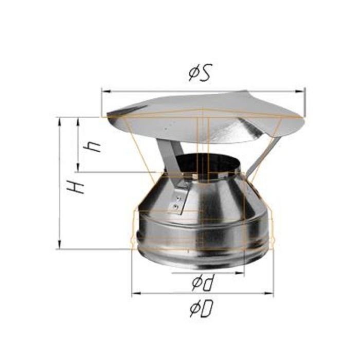 Оголовок Феррум оцинкованный, 0,5 мм, d 200/280, по воде