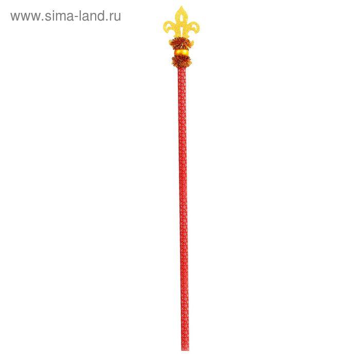 """Посох Деда Мороза """"Королевский"""", длина 140 см, цвет красно-золотой"""