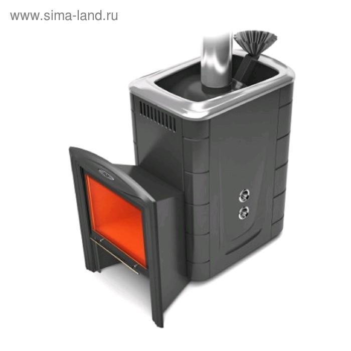 Печь для бани Термофор Гейзер 2014 Carbon Витра, закрытая каменка, теплообменник, антрацит