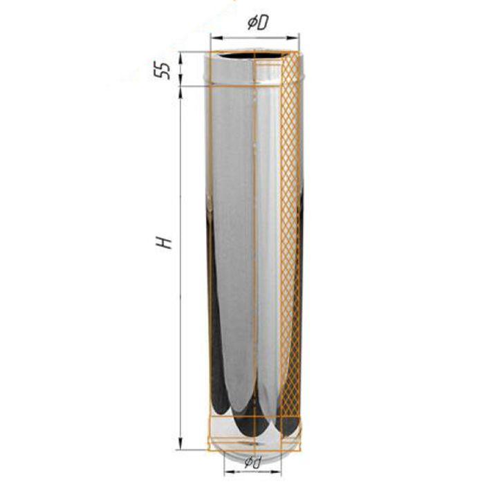 Дымоход Феррум утепленный нержавеющий 430/0,5мм/зеркальный нержавеющий ф120/200, L=1м, по воде   165