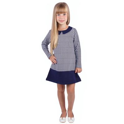 """Платье для девочки """"Высокий стиль"""", рост 98 см (52), принт гусиная лапка (арт. ДПД328258н_Д)"""