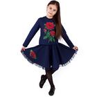 """Джемпер для девочки """"Королева цветов"""", рост 128 см (64), цвет тёмно-синий (арт. ДДД885804_Д)"""