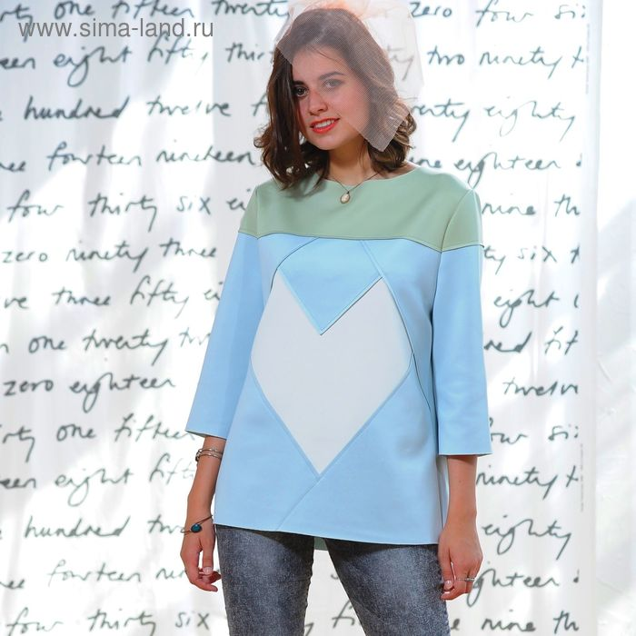 Свитшот 5160, размер 48, рост 164 см, цвет св.зеленый/голубой/молочный