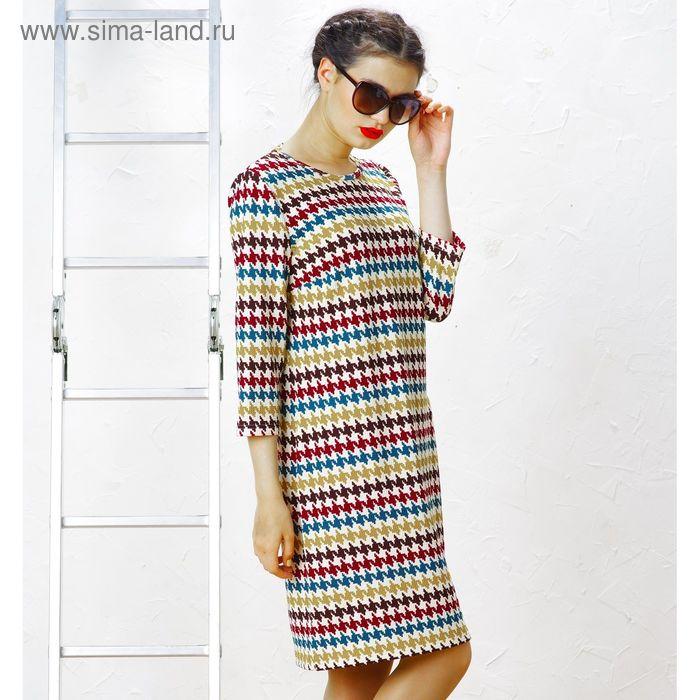 Платье 5084, размер 46, рост 164 см, цвет зеленый/беж