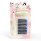 Ручка перьевая, 10 шт. синих картриджей в комплекте, на блистере, МИКС