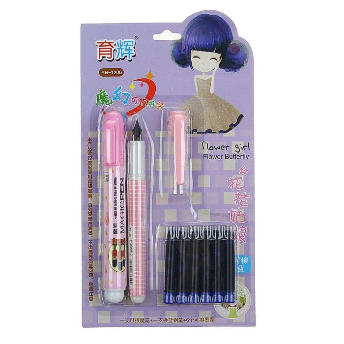 Ручка перьевая, в комплекте 6 шт. синих картриджей, стиратель, на блистере, МИКС
