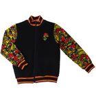 "Куртка (бомбер) для девочки ""Хохлома"", рост 116 см (60), цвет чёрный, принт хохлома (арт. ДДД988722_Д)"