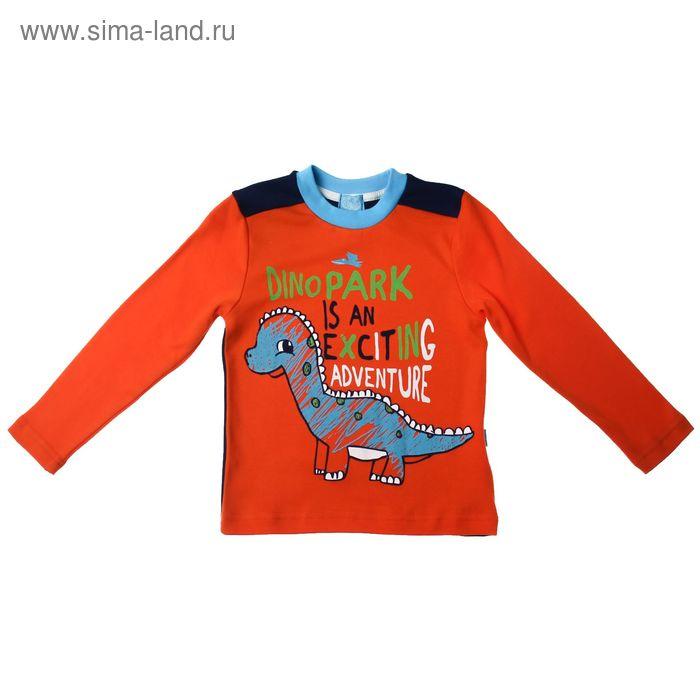 """Джемпер для мальчика """"Дино"""", рост 110 см (56), цвет оранжевый/синий (арт. ПДД438067_Д)"""