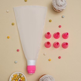 Pastry bag Turquoise 6 nozzles 29x19x3 5 cm, base nozzle 2.5 cm.