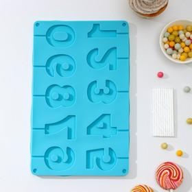 Форма для леденцов и мороженого «Арифметика», 29×17 см, 10 ячеек, палочки в комплекте, цвет МИКС