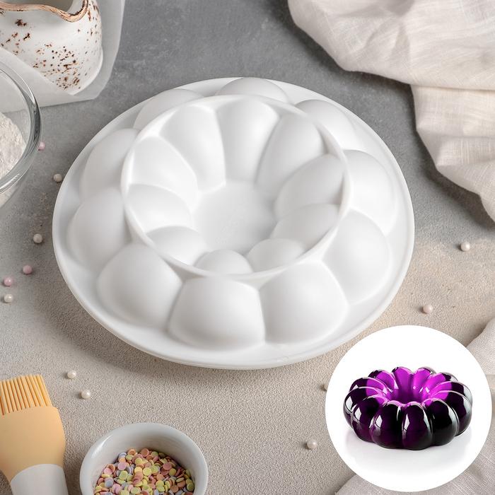 Форма для муссовых десертов и выпечки Доляна «Цветок», 21×7 см, цвет белый