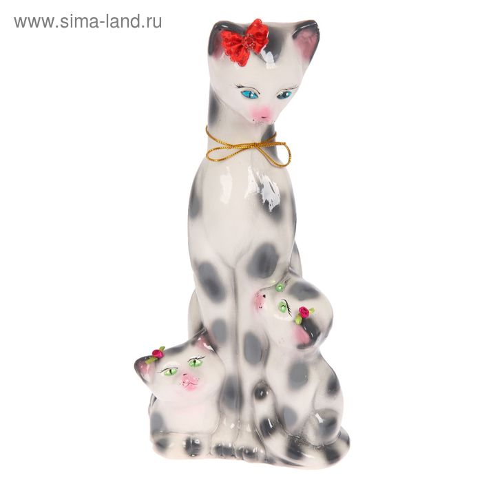 """Копилка """"Кошка с котятами"""" глянец, бело-леопардовая"""