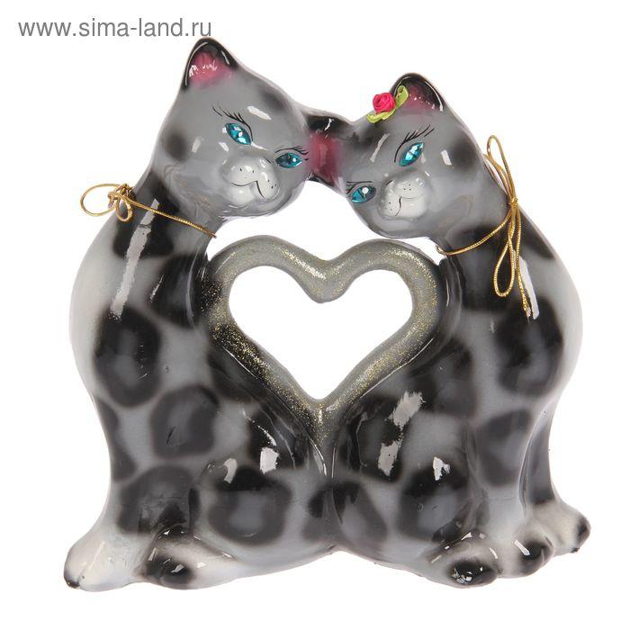 """Копилка """"Коты сердце"""" большая, глянец, серо-леопардовая"""