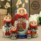 Матрёшка «Сказки», сине-красный платок, 5 кукольная, 17 см, люкс