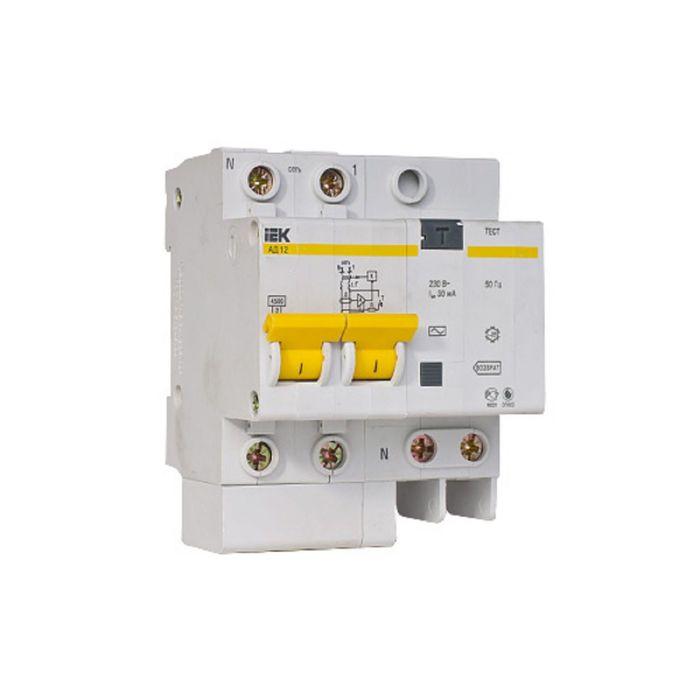 Дифференциальный автомат IEK, 2п, 3.5 мод., C 40 А, 30 мА, тип AC, 4.5 кА, АД-12