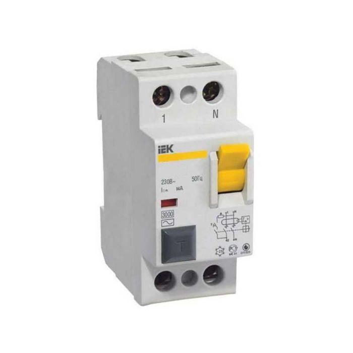 Выключатель дифференциальный УЗО IEK, двухполюсный, 16 A, 30 mA, тип AC, ВД1-63
