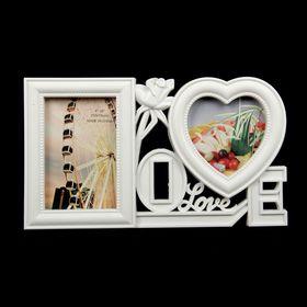 """Фоторамка """"Любовь везде"""" на 2 фото 10х15 см, 12х12 см, белая"""