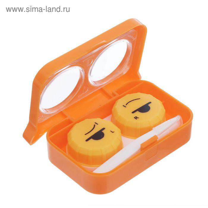 """Набор для контактный линз """"Совушка"""", 3 предмета: контейнер, пинцет, одеватель, в футляре, цвет МИКС"""