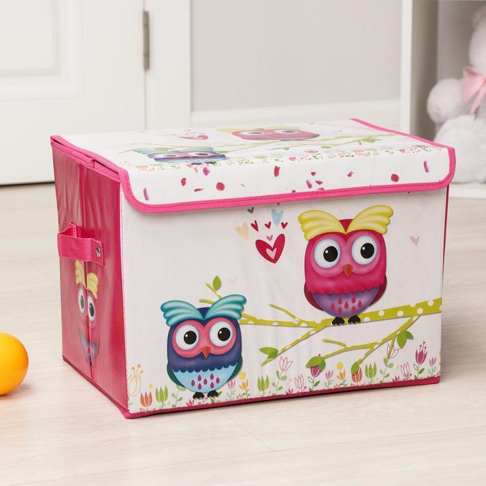"""Короб для хранения 40×26×26 см """"Весенние совушки"""", цвет розовый"""